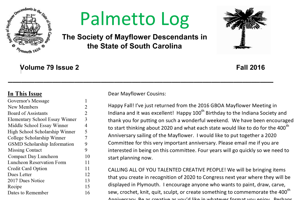 south carolina descendants of the flower palmetto log fall 2015