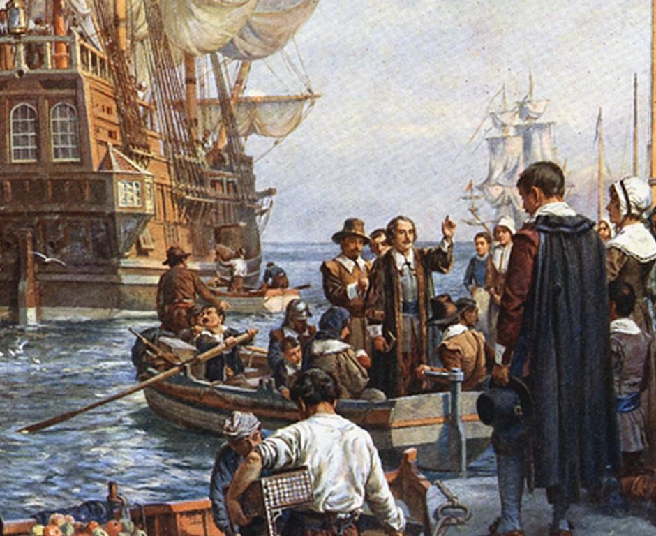 the voyage of the mayflower 21 novembre 1620 : le mayflower aborde à plymouth - une poignée de pères pèlerins établit les futures règles démocratiques des États-unis.